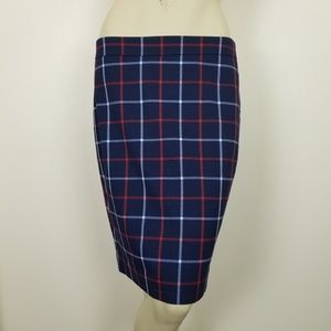 Tommy Hilfiger red white blue plaid pencil skirt